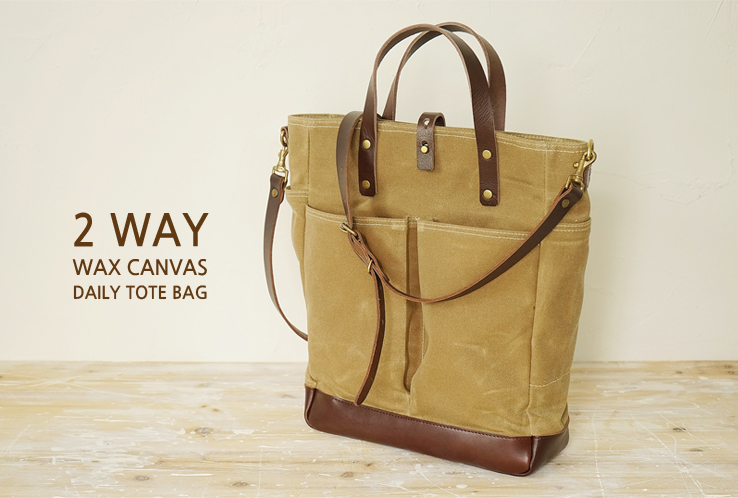 216 왁스캔버스 데일리토트백 2웨이Waxed Canvas Daily Tote Bag 2 WayWaxed Canvas/Genuine Leather