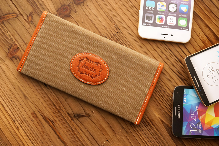 7245 브레스트 월렛케이스 WCBreast Wallet Case WC for iPhone 6+/6S+Waxed Canvas/Minerva Box,Genuine Leather